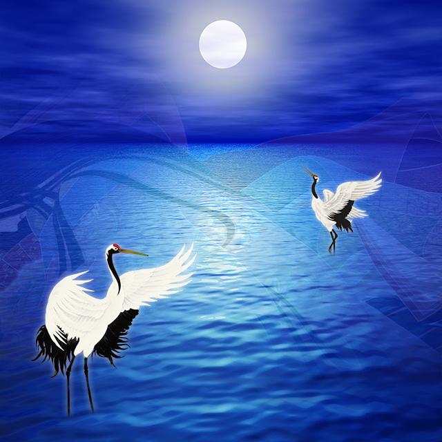 月に遊ぶ鶴